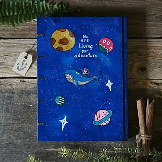 Bunny & whale in the galaxy., Notebook Painting  Handmadenotebook Diary 筆記本