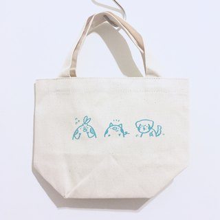 Small animal meeting / hand-printed limited edition small canvas bag