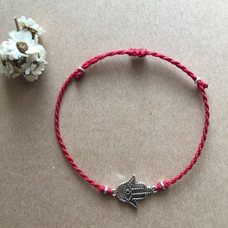 ~ M + bear ~ simple eyes and hand fine bracelet red line blessing bracelet sister chain Friends of Brazil wax / silver / anklet
