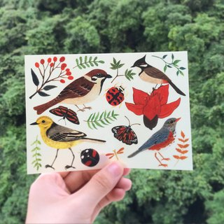 Gardener bird number 2 sticker wild bird insect plant