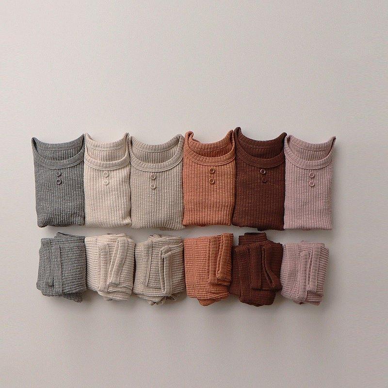 韓國秋冬彈力舒適鈕扣款暗直紋九分袖套裝 •Vanilla Set•