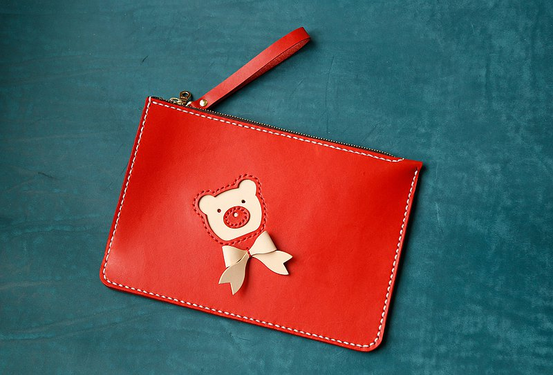 [Customer Order Version] Cute Bear Multi-function Clutch Hand-sewn Vegetable Tanned Leather Lady Bag