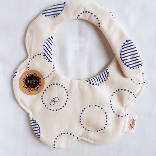 Geometric coil butterfly - beige - eight layer yarn 100% cotton double-sided random arc shape bib. Saliva towel