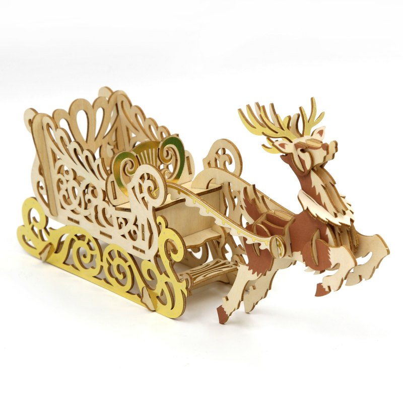 [Christmas Specials] Jigzle® 3D three-dimensional jigsaw puzzle series | Wooden Sleigh | super cure