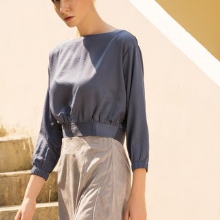 Tea time at the Ritz cropped top in Blue-gray
