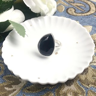 Black Water Drops Imitation Gemstone Antique Ring BLA115