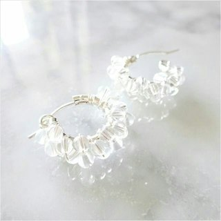 SV925SF*Crystal Quartz wrapped pierced earring / earring