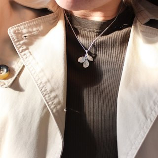 Red Flower Loropetalum Leaf Silver Necklace - Nature Plant