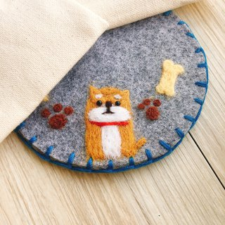 [Custom] Shiba Inu sheep felt embroidery coasters