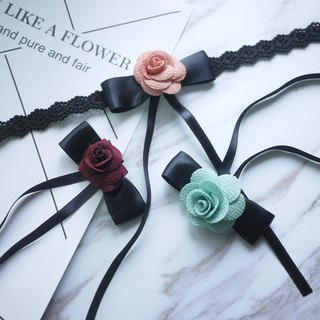 Long bow Rose Lace Necklace 【Panna Cotta】