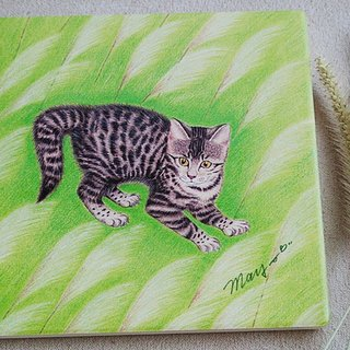 Tabby cat in reed _ ceramic water coaster