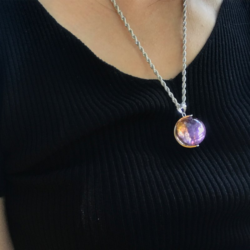 【Lost And Find】Natural rainbow in crystal Ball 925 necklace