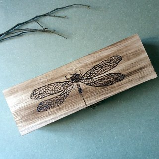 Wooden pencil case / storage box (dragonfly)