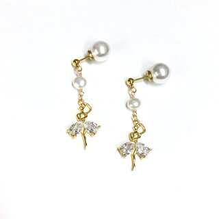 Ballerina】 ballet girl. Super-flash zircon. Natural pearl earrings. Gold-plated ear style earrings. Can change ear clip.