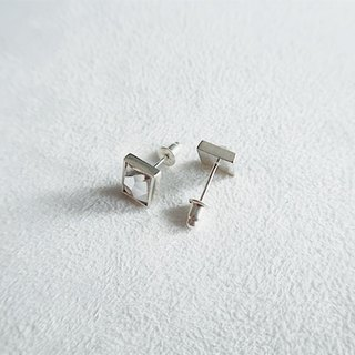 Rectangular glass/White/Earrings/Swarovski Crystal/Sterling Silver/By hand【ZHÀO】SZE1785
