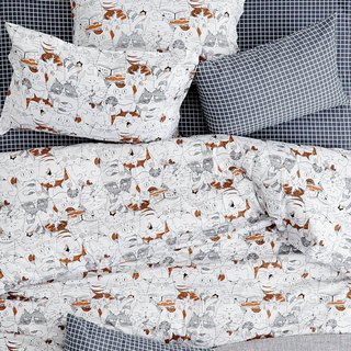 Wonderful single double bed single / bed bag hand-painted cat 40 cotton bedding pillowcase quilt cover