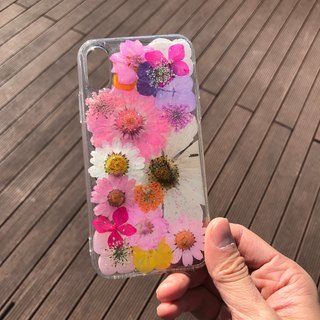 iPhone X Dry Pressed Flowers Case Pink Daisy Flower case 018