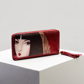 CoinQian retro hand holding beauty red wax leather wallet wallet wallet