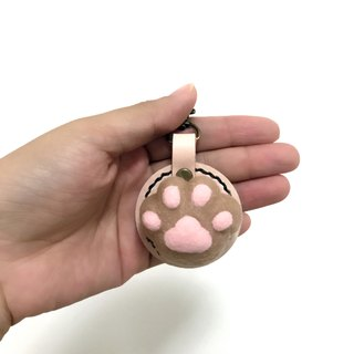 Fist Cat Meat Ball - Meeks Pussy - Leather Wool Felt Key Ring Reissue - Free Lettering