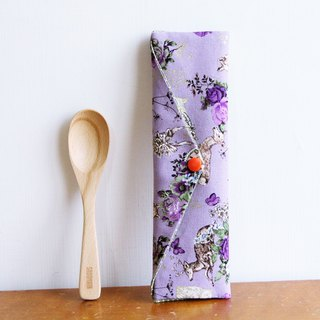 Wen Qing style green chopsticks bag ~ A kind of mystical purple dream temperament rose storage bag. Green chopsticks bag. Hand made cutlery bag. Exchange gifts.