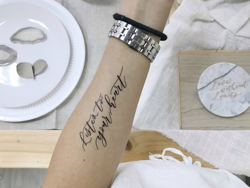 "cottontail cottontatt ""Listen to your heart"" calligraphy temporary tattoo"