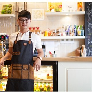 JimmyRacing Jimmy Lin Brothers Same Bowl Shop Denim Leather Mosaic Apron Work Apron Cafe Western Restaurant Florist Apron 2246