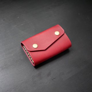 [Christmas limited offer] six-hole key bag - wine red [Fu Lie area carved leather]