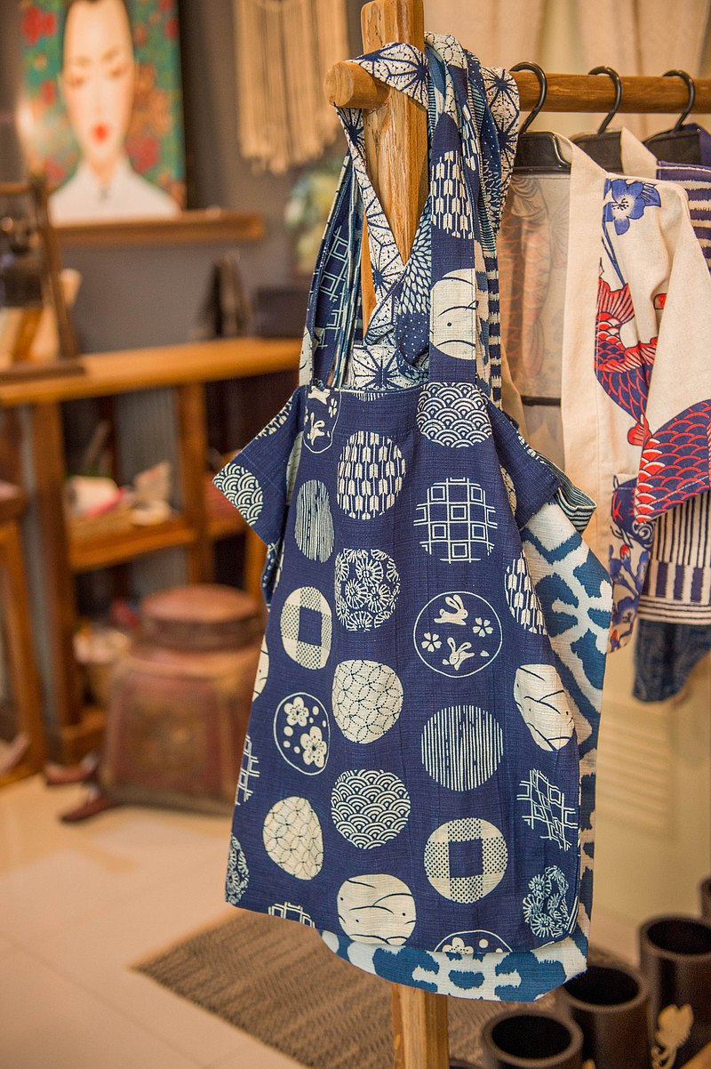Blue dye shopping bag