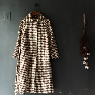 River water mountain - Tokyo brown coffee big grid thousands of birds pattern youth hand Zha sheep antique coat coat coat wool wool wool vintage overcoat