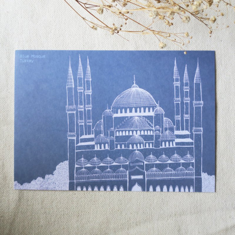Travel scenery - Turkey - Istanbul Blue Mosque / illustration postcard