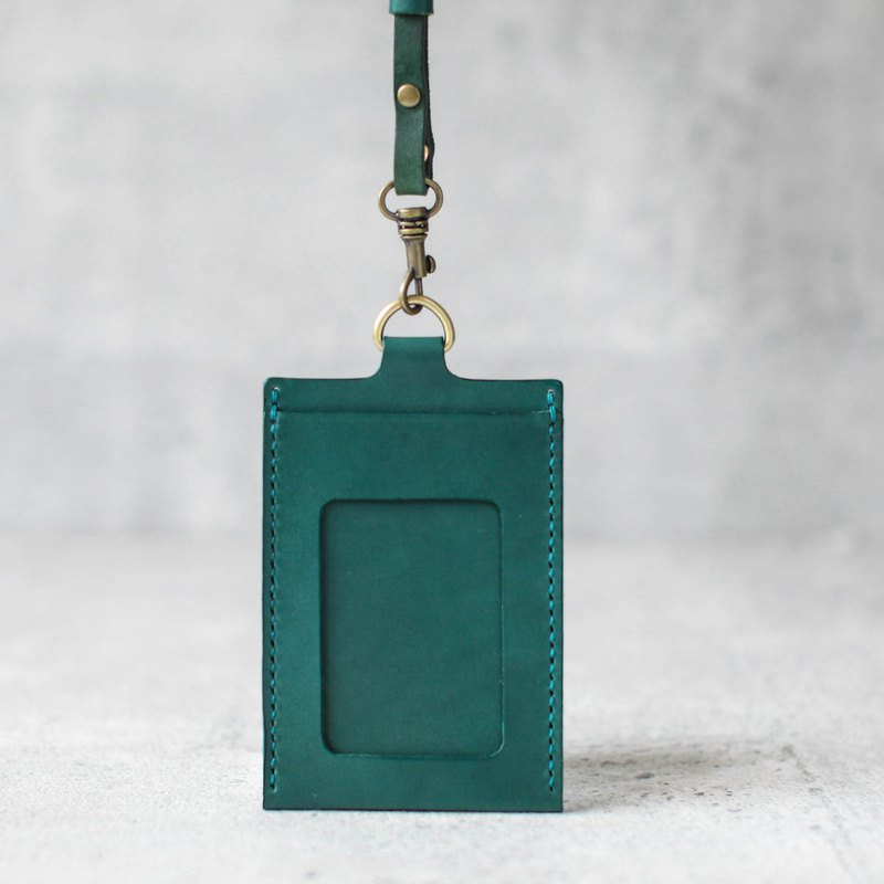 Lake green leather ID card case