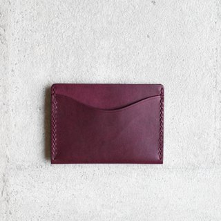 Grape purple vegetable cow hide leather card holder wallet