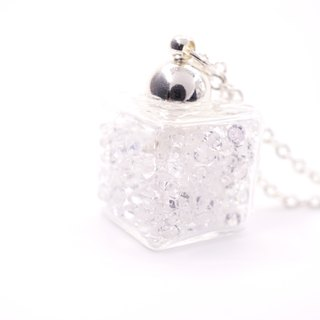 A Handmade white crystal ice glass necklace