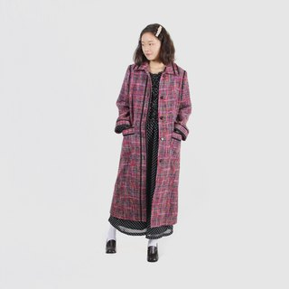 [Egg plant ancient] iridescent long hair wool coat