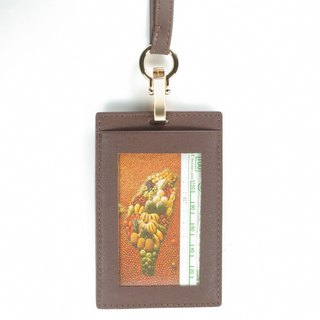 Classic vegetable tanned straight double-layer ID card holder lanyard leather brown pay guest lettering service