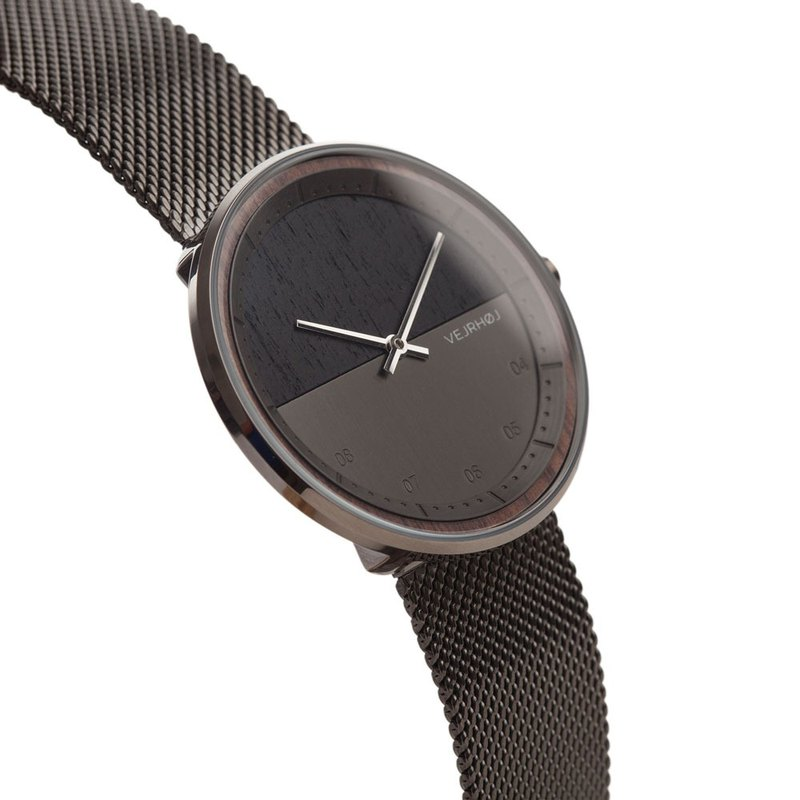 VEJRHOJ Danish Hoy Classic Log Watch Order GUN Mesh Calm Black-Dark Walnut