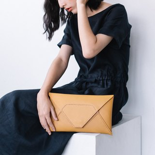 HANDMADE HIGH QUALITY JAPANESE VEGETABLE TANNED COW LEATHER CLUTCH BAG-YELLOW/CREAM
