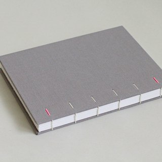 Hardcover Notebook in Light Grey Ramie Cotton Cloth- Coptic Bound (the hidden diagonal stitch)