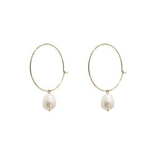 Freshwater pearl small circle earrings (three wearing method)