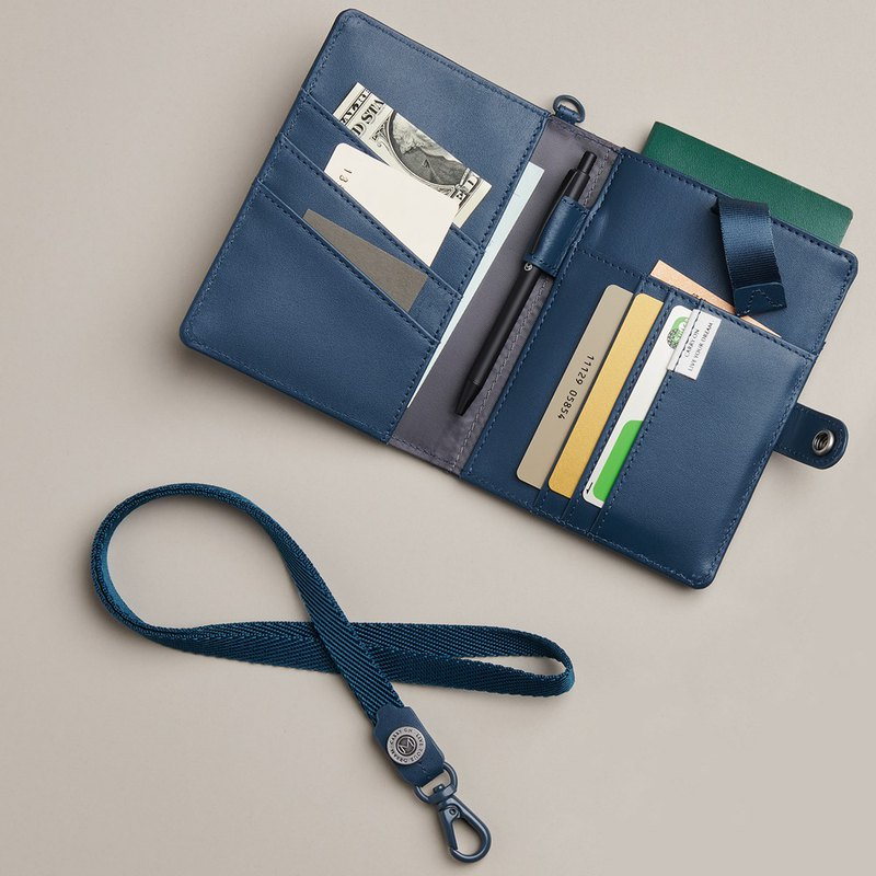 MONDE Leather Passport Gift Box (With Pen + Lanyard)-Tannin Blue