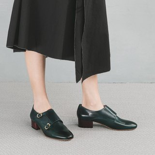 H THREE round head 3.4 Mengke heel shoes / malachite green with deep peacock blue / heel shoes / leather shoes