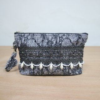 Hand dyed lace stitching clutch
