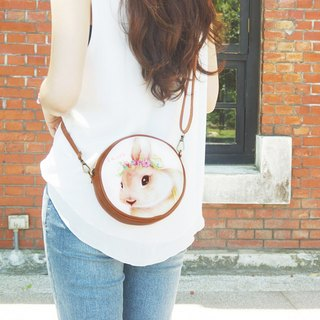 i bag hand-painted wind small round bag - A6. Garden rabbit bunny rabbit - side backpack / cross-body bag / shoulder bag