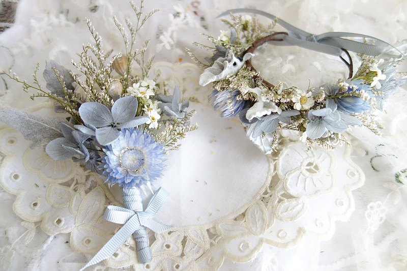 Personality gray blue purple wrist flower + corsage set/wedding floral decoration/bride/groom/bridal of honor/groomsman