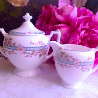 British Coalport Bone China Hand Painted Cherry Blossom Series Covered Sugar Bowl Milk Jug ~ New Stock