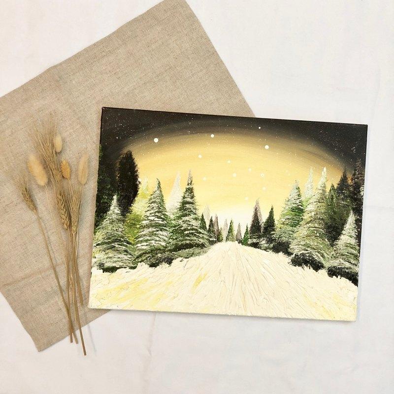 手繪聖誕氣氛油畫 無框畫