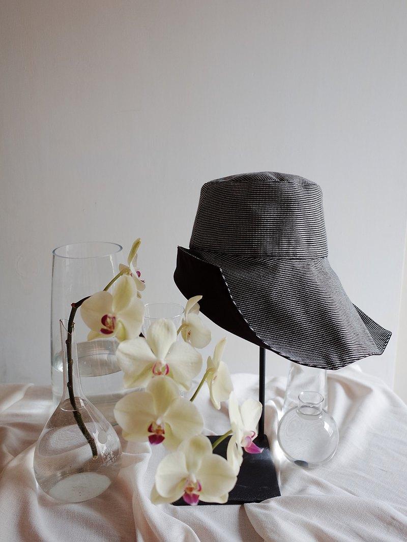 雙面遮陽變化帽-千鳥格