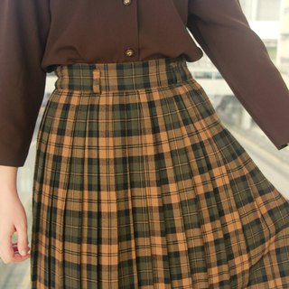 …{DOTTORI :: BOTTOM}Brown Checkered Pleated Skirt