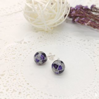 10mm Glass-painted Sterling Silver earrings - Glitter-Silver line, Purple