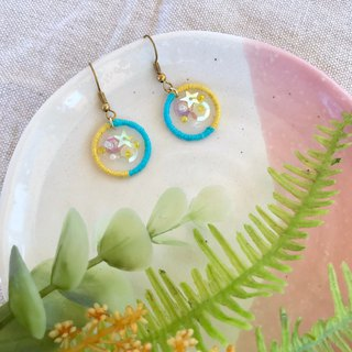 Handmade embroidery // Wishing Galaxy Hook Earrings - Yellow Blue / / Clipable